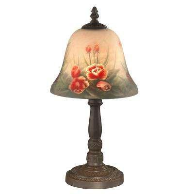 15 in. Antique Bronze Rose Bell Accent Lamp ... - Bronze - Desk Lamps - Lamps - The Home Depot