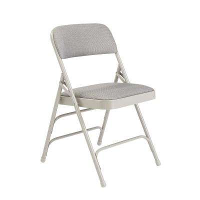 NPS 2300 Series Grey Fabric Upholstered Triple Brace Premium Folding Chair (Pack of 4)