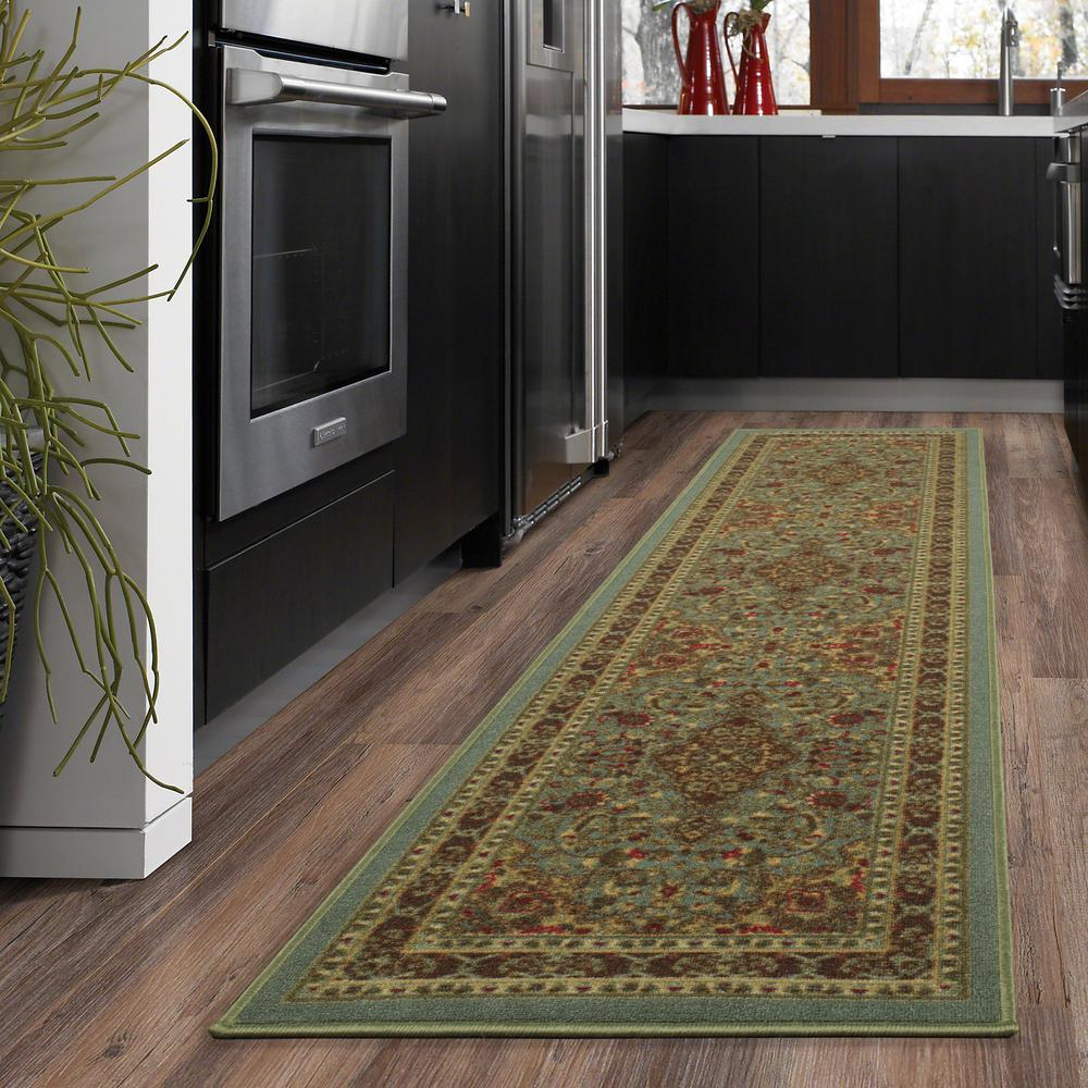 Ottomanson Ottohome Collection Traditional Persian All-Over Pattern Design Sage Green 2 ft. x 5 ft. Runner Rug
