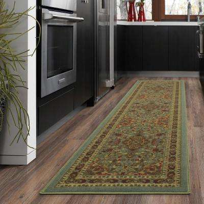 Ottohome Collection Traditional Persian All-Over Pattern Design Seafoam 2 ft. x 5 ft. Runner Rug