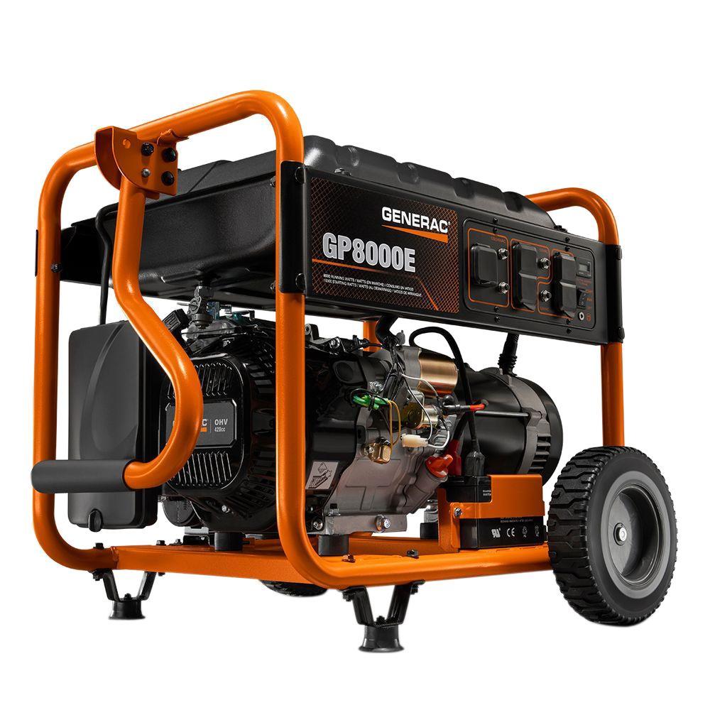 Generac 8,000-Watt Gasoline Powered Electric Start Portable Generator-6954  - The Home Depot