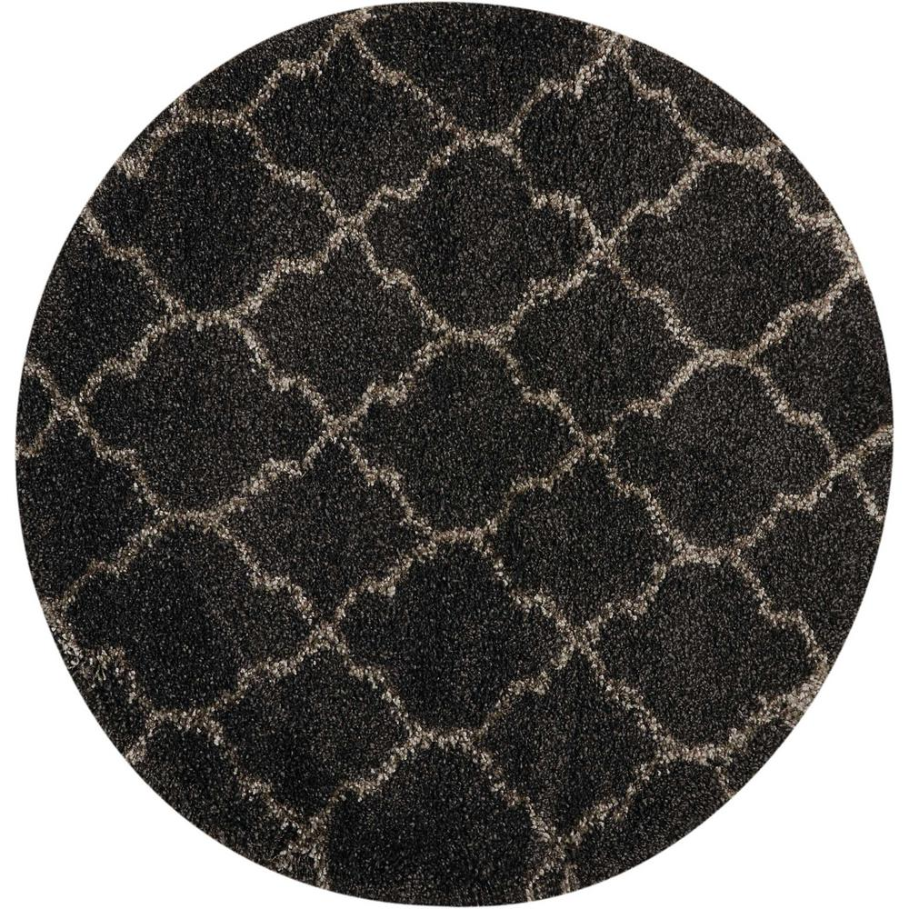 nourison amore charcoal 3 ft 11 in x 3 ft 11 in round area rug 320001 the home depot. Black Bedroom Furniture Sets. Home Design Ideas