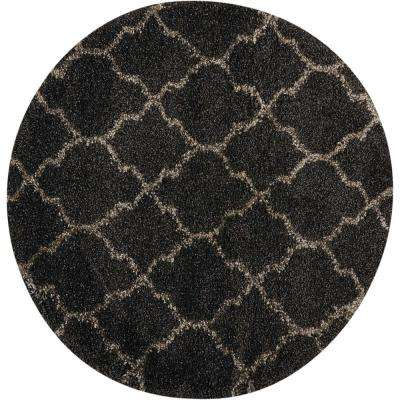 Amore Charcoal 3 ft. 11 in. x 3 ft. 11 in. Round Area Rug