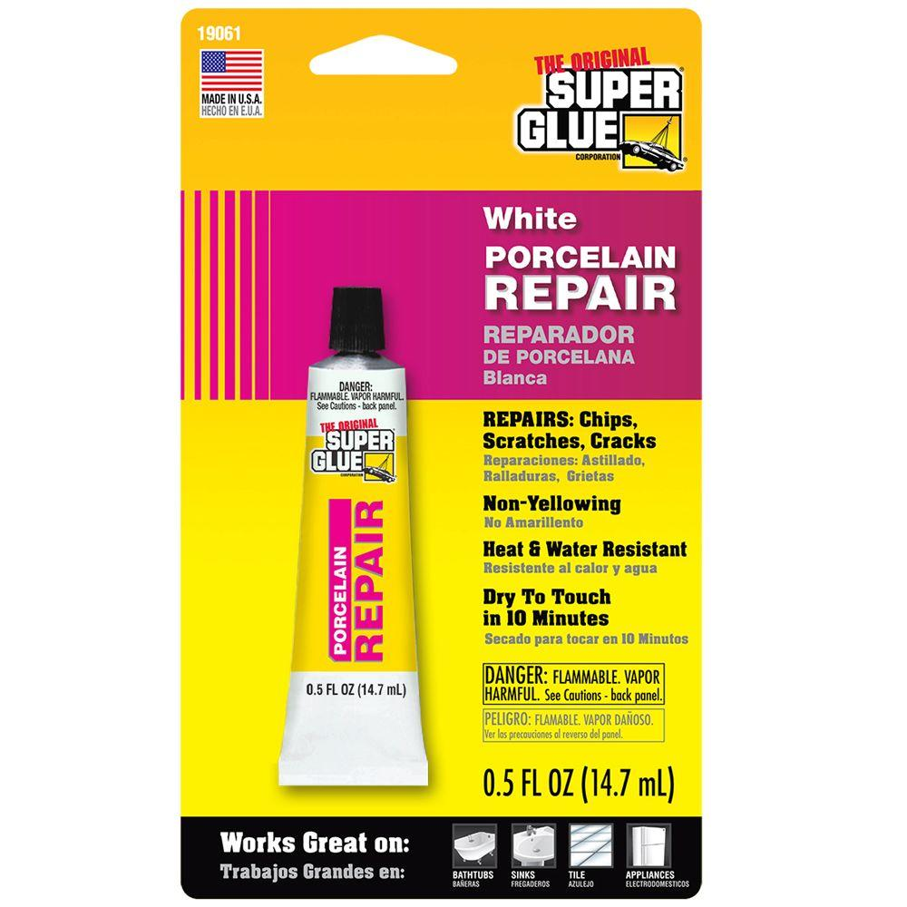 Super Glue 05 Fl Oz White Porcelain Repair 19061 6 The Home Depot