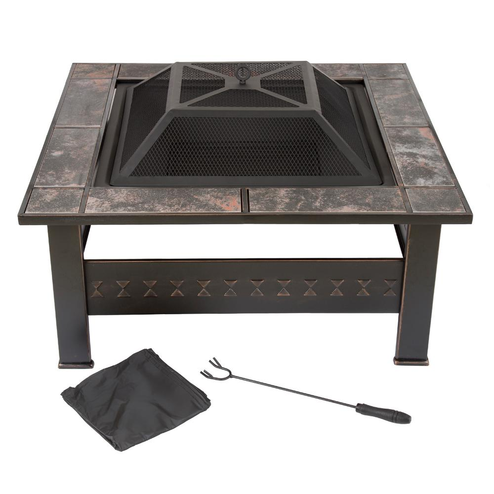32 in. Steel Square Tile Fire Pit with Cover