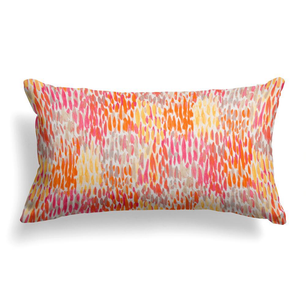 Peacock Feather Orange Rectangular Lumbar Outdoor Pillow