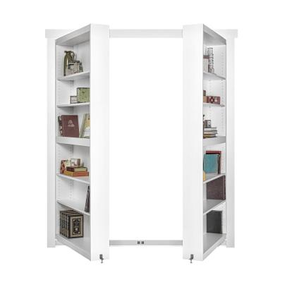 48 in. x 80 in. Flush Mount Assembled Paint Grade White Out-Swing Solid Core Interior French Bookcase Door
