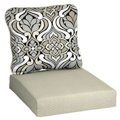 DriWeave 24 x 22 Black and Gray Tile Deep Seating Outdoor Lounge Chair Cushion