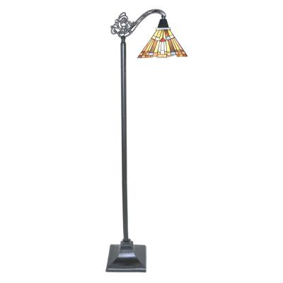 61 in. Multi-Colored Side Arm Floor Lamp with Stained Glass Mission Style Shade