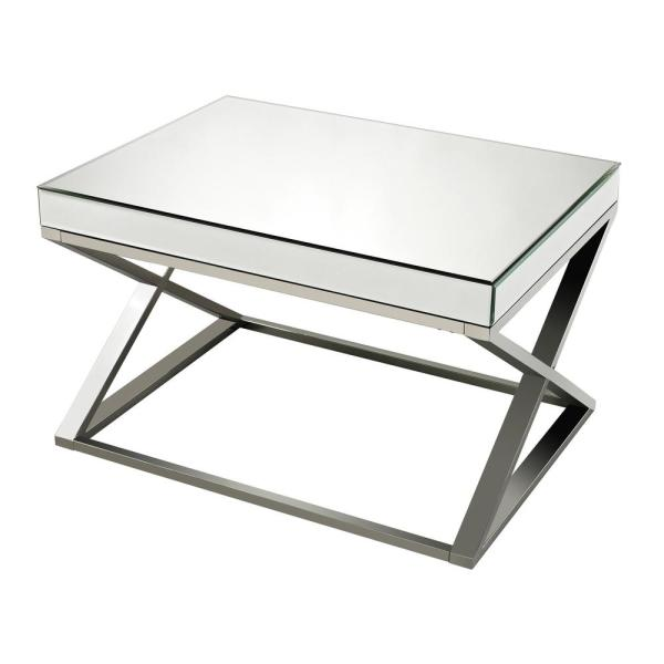 Titan Lighting Klein Mirror Clear, Crome and Stainless Steel Coffee Table