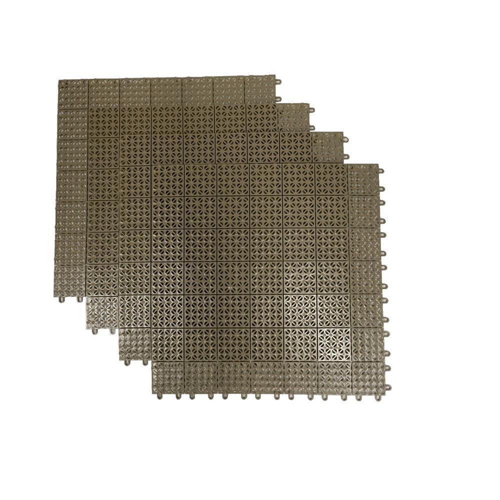 RSI Tan Regenerated 22 in. x 22 in. Polypropylene Interlocking Floor Mat System (Set of 4 Tiles)