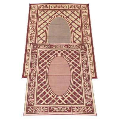 Country Cabin Coral and Beige 9 ft. x 12 ft. Polypropylene Indoor/Outdoor Reversible Patio/RV Mat