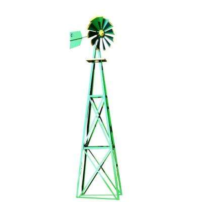 138 in. Large Green and Yellow Powder Coated Backyard Windmill