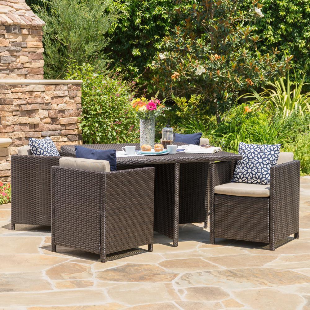 Puerta Dark Brown 5-Piece Wicker Outdoor Dining Set with Beige Cushions