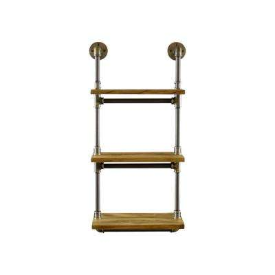 Juneau Farmhouse Industrial, Natural 3-Tiered Etagere Wall Pipe Shelf Rack Multipurpose-Metal-Reclaimed Wood