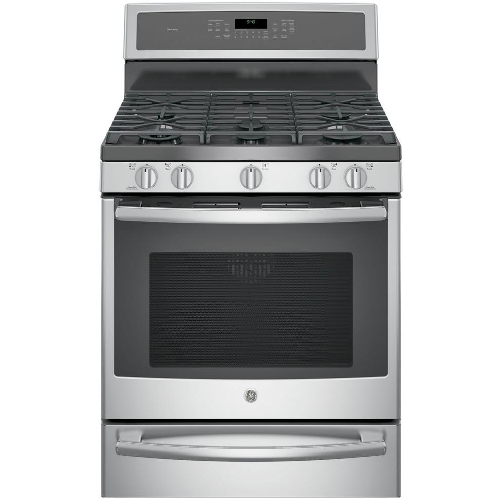 GE Profile 30 in. 5.6 cu. ft. Smart Dual Fuel Range with Self-Cleaning Convection Oven in Stainless Steel