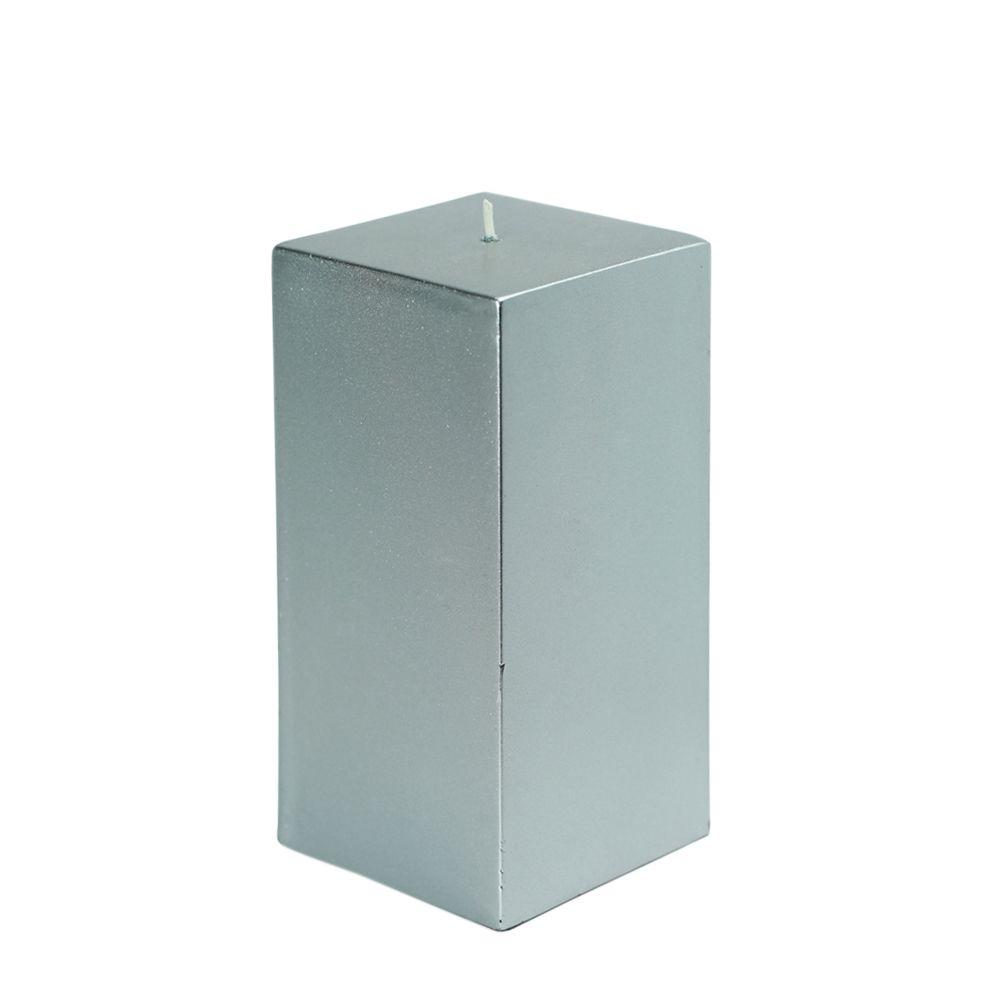3 in. x 6 in. Metallic Silver Square Pillar Candle Bulk