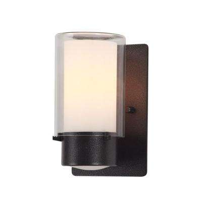 Celestial 1-Light Outdoor Hammered Black Wall Sconce