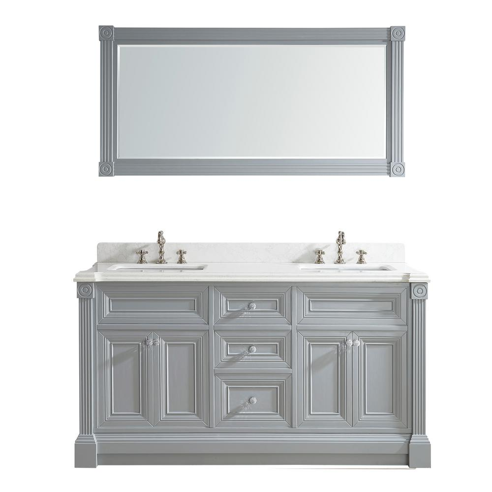 Studio Bathe Avenue 63 in. W x 23 in. D Vanity in Oxford Gray with Engineered Solid Vanity Top in White with White Basin and Mirror