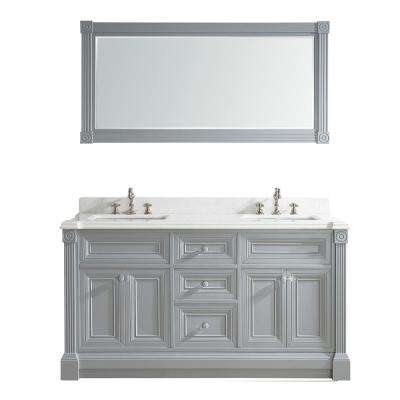 Avenue 63 in. W x 23 in. D Vanity in Oxford Gray with Engineered Solid Vanity Top in White with White Basin and Mirror