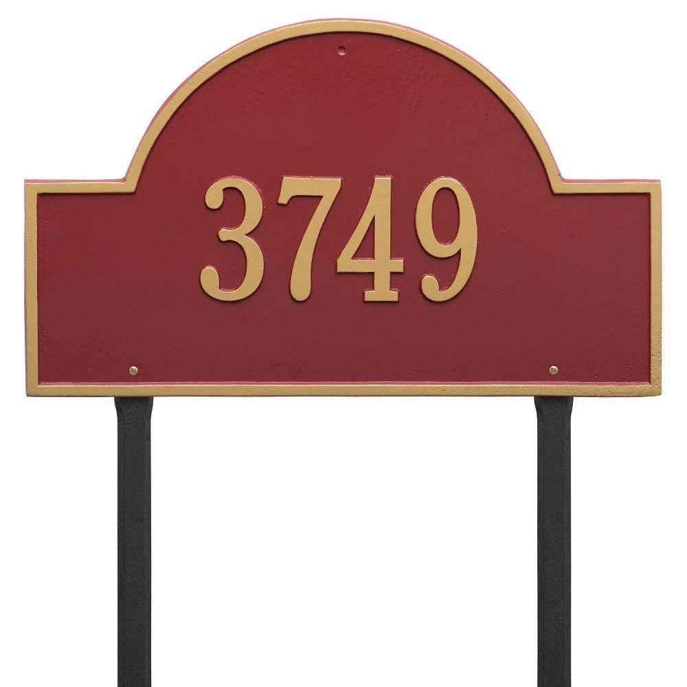 Whitehall Products Arch Marker Estate Red/Gold Lawn 1-Line Address Plaque