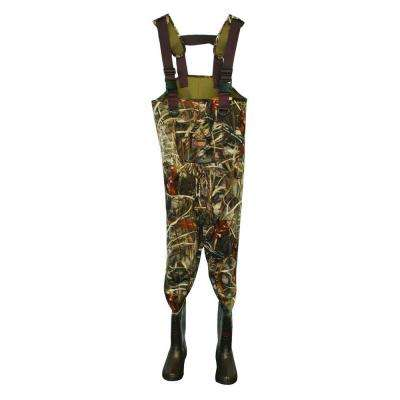 Mens Size 12 Neoprene Insulated Reinforced Knee Adjustable Suspender Cleated Chest Wader in Camo