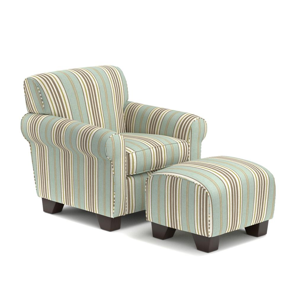 Handy Living Winnetka Arm Chair And Ottoman In Summer Blue Stripe