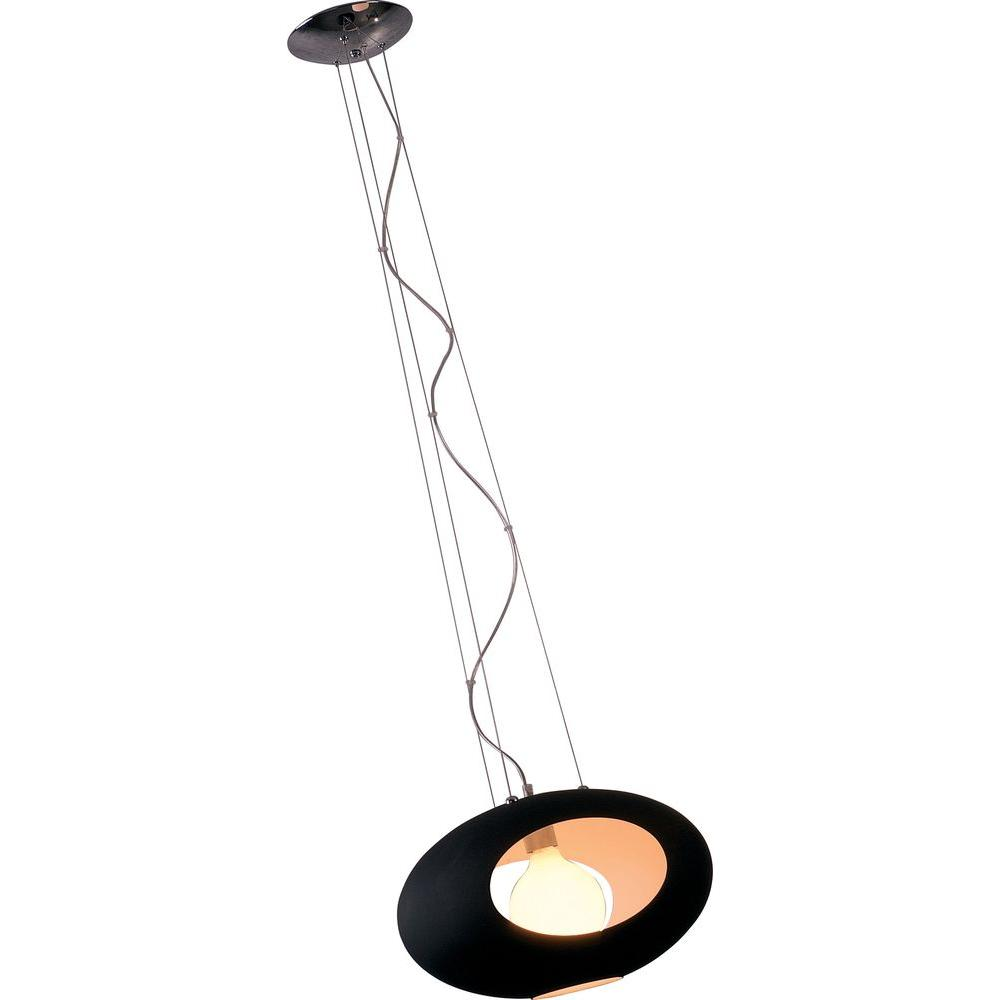 Illumine Infinite 1-Light Polished Chrome Pendant with Black Glass