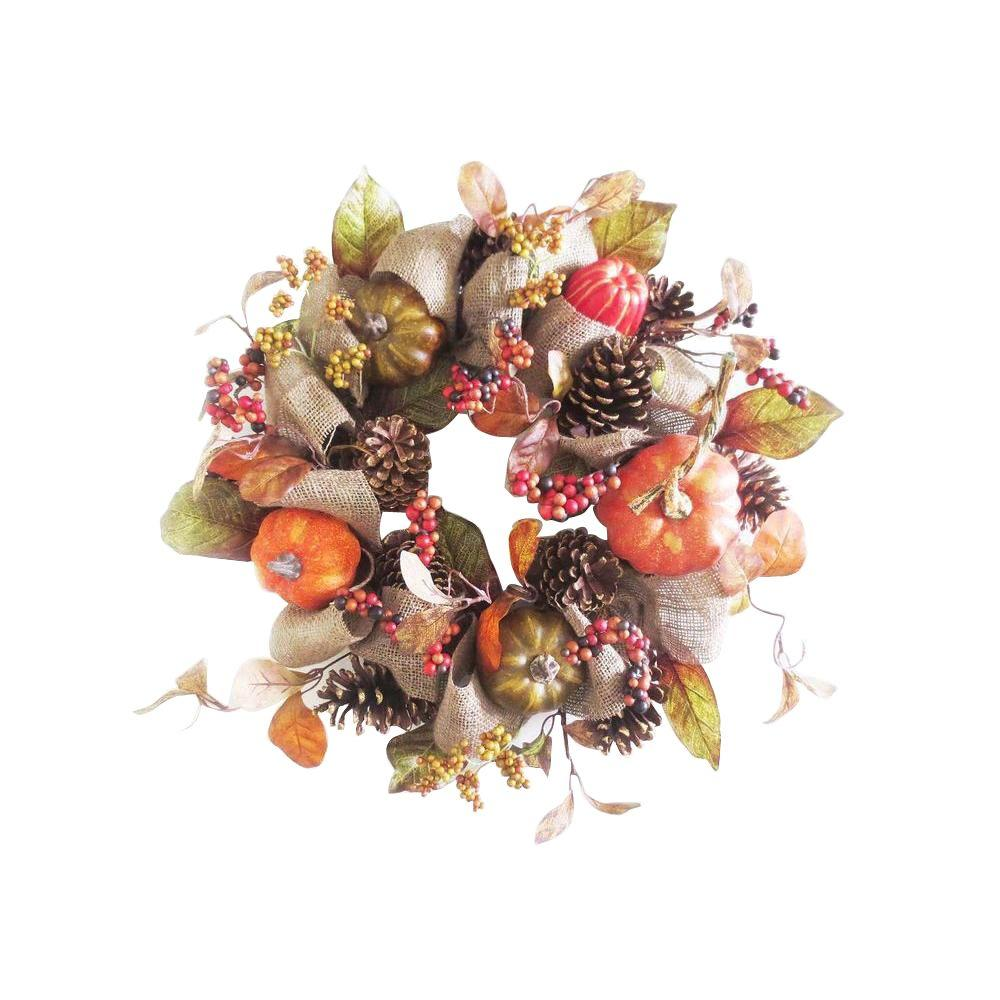 HomeAccentsHoliday Home Accents Holiday 22 in. Pumpkin Pinecone and Berry Artificial Wreath