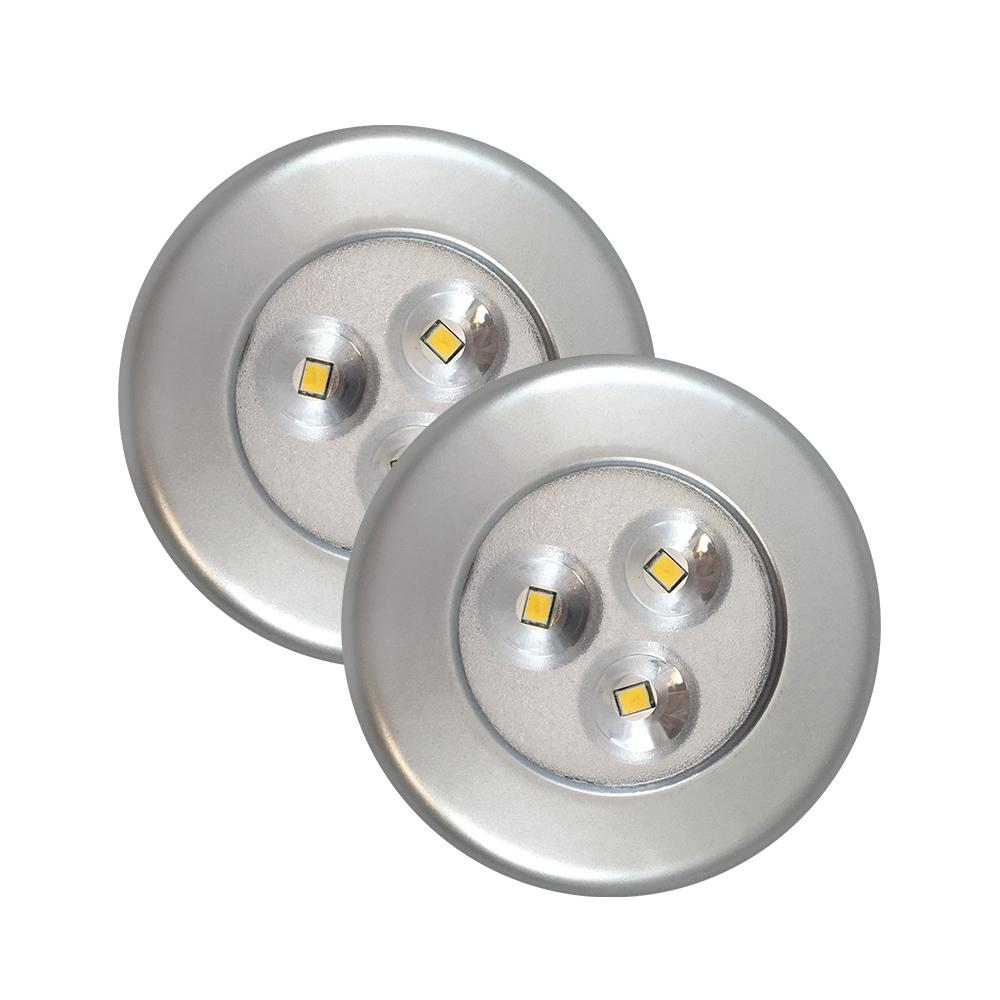 Getinlight Led Puck Lights Kit: Westek Lite-N-Up LED Silver Puck Light (2-Pack)-75221S