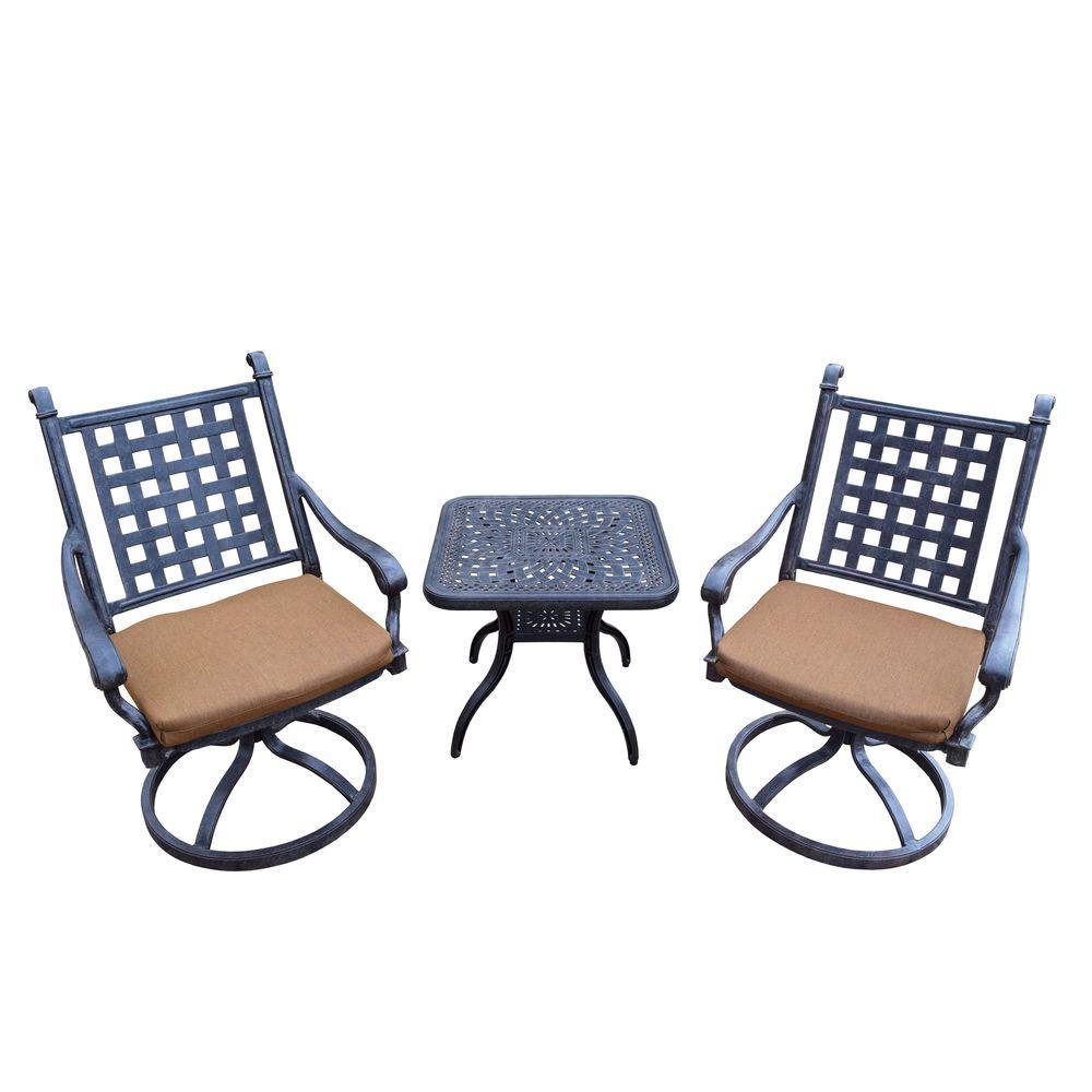 Cast Aluminum 3 Piece Square Patio Bistro Set With Sunbrella Cushions