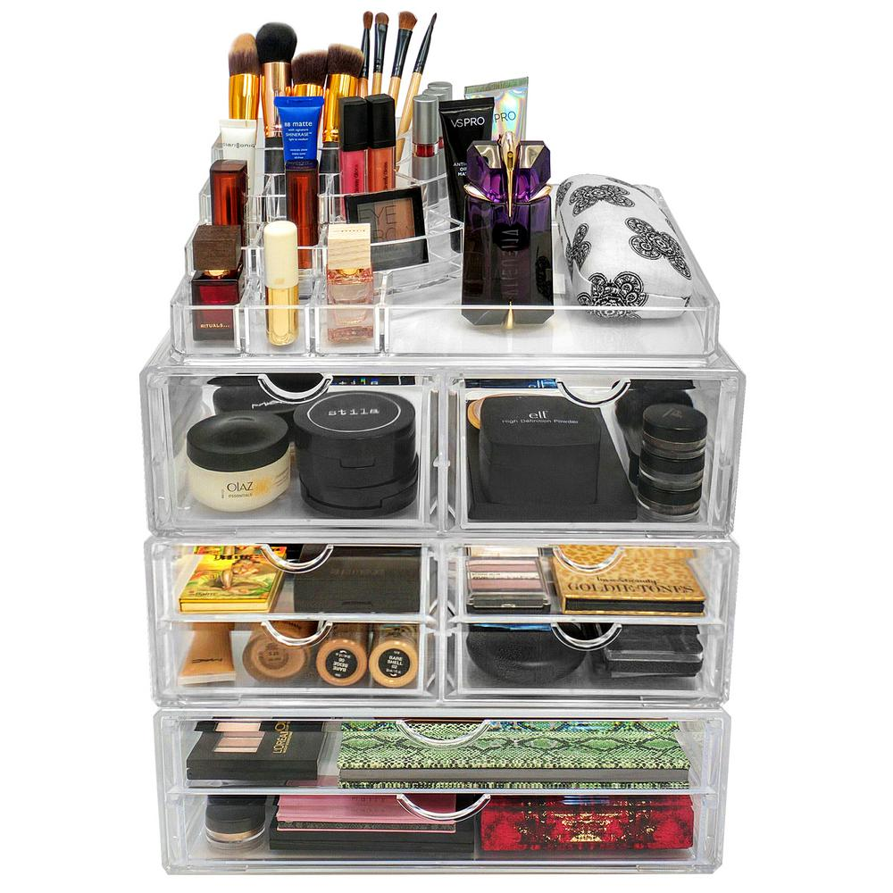 Sorbus 13.5 in. W x 8.75 in. H Stackable 1-Cube Cosmetic Organizer in Acrylic