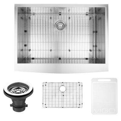 Farmhouse Apron Front Stainless Steel 30 in. Single Bowl Kitchen Sink with Grid and Strainer