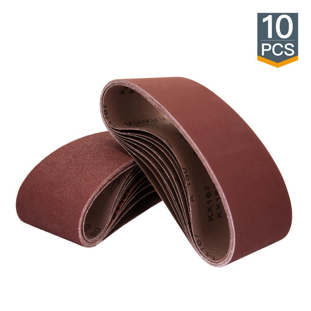3 in. x 21 in. 240-Grit Aluminum Oxide Sanding Belt (10-Pack)