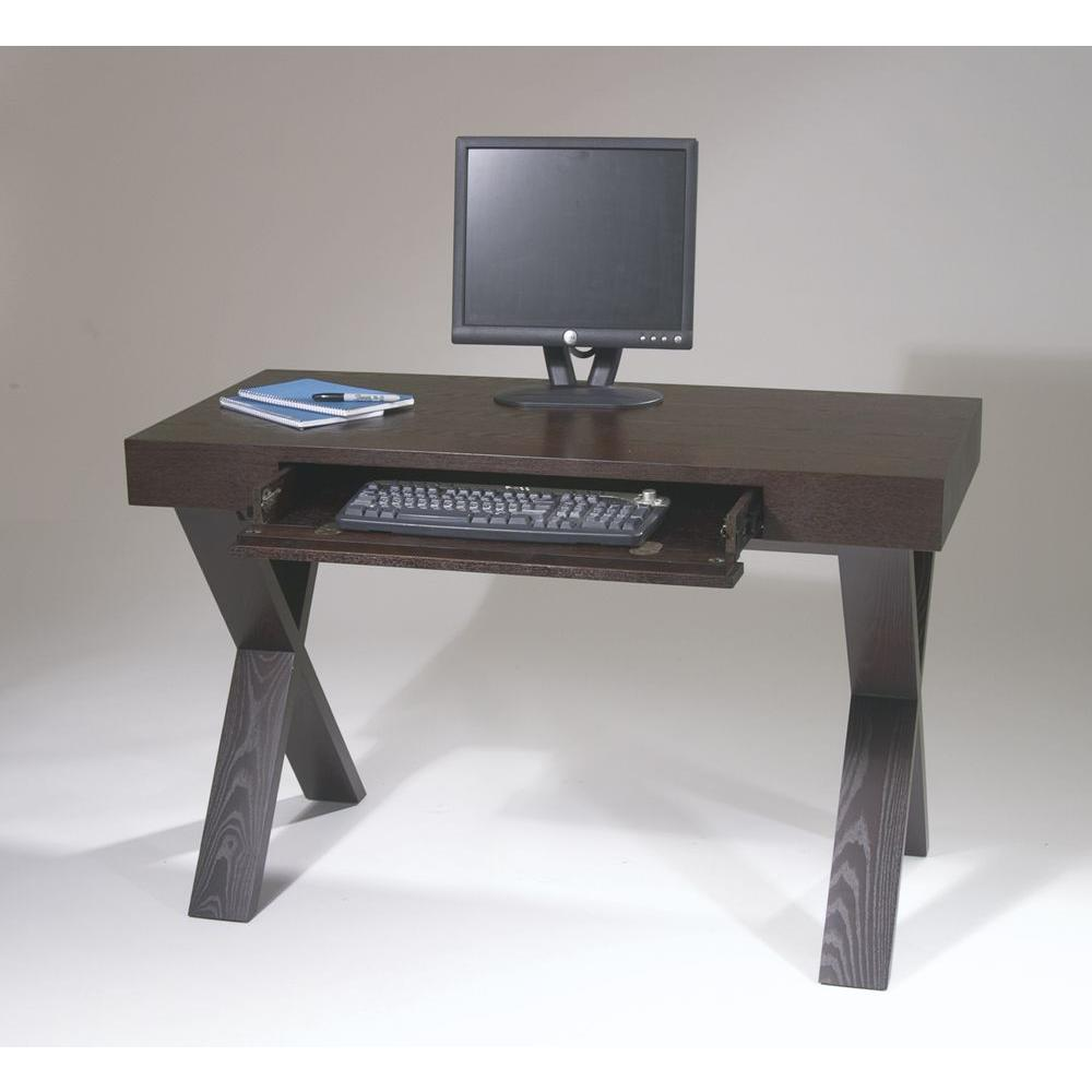 OSP Home Furnishings Lane espresso (Brown) Desk Bring home the contemporary beauty and functionality of the Ave Six Lane Desk. This lovely espresso finish modern home computer desk features a spacious pull-out keyboard drawer with drop-down front and sturdy solid wood and wood veneer construction. Convenient size desk for any room of the house.