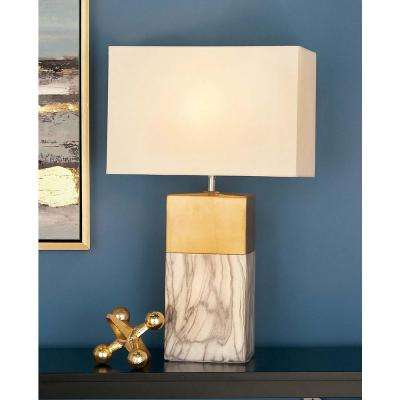 25 in. Decorative Rectangular White and Gold Ceramic Table Lamp