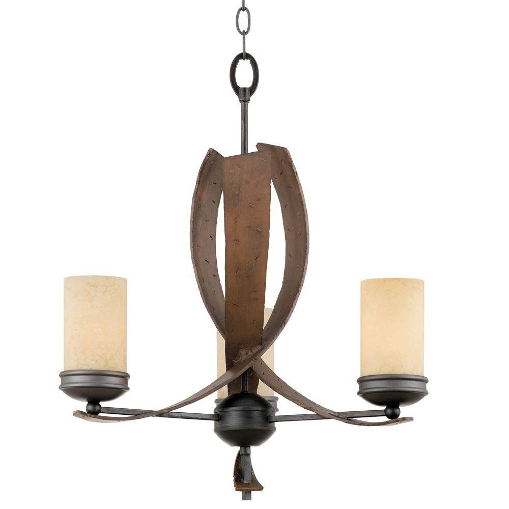 Varaluz Aizen 3-Light Hammered Ore with Aspen Bronze Accents Chandelier with Recycled Tea Stained Creamy Glass