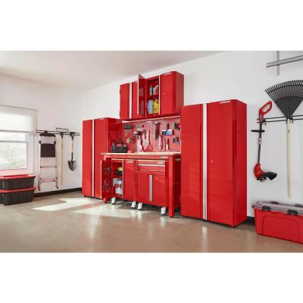 145 in. W x 98 in. H x 24 in. D Steel Garage Cabinet Set in Red (8-Piece)