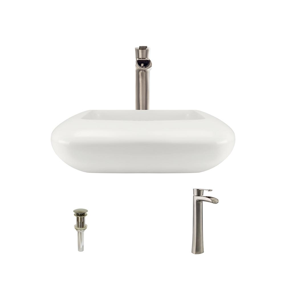 MR Direct Porcelain Pillow Top Vessel Sink in Bisque with...