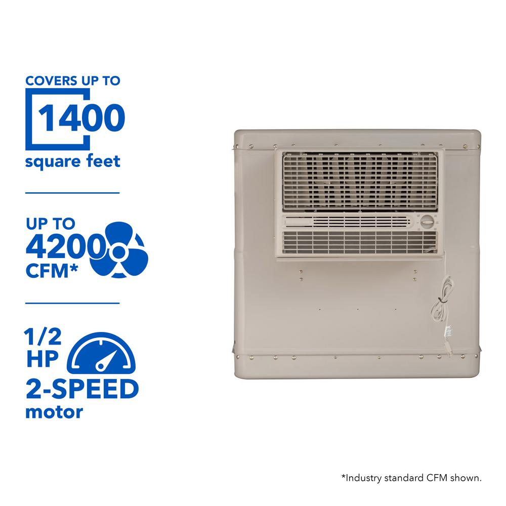 4200 CFM 2-Speed Front Discharge Window Evaporative Cooler for 1400 sq. ft. (with Motor),  Beige/Ivory