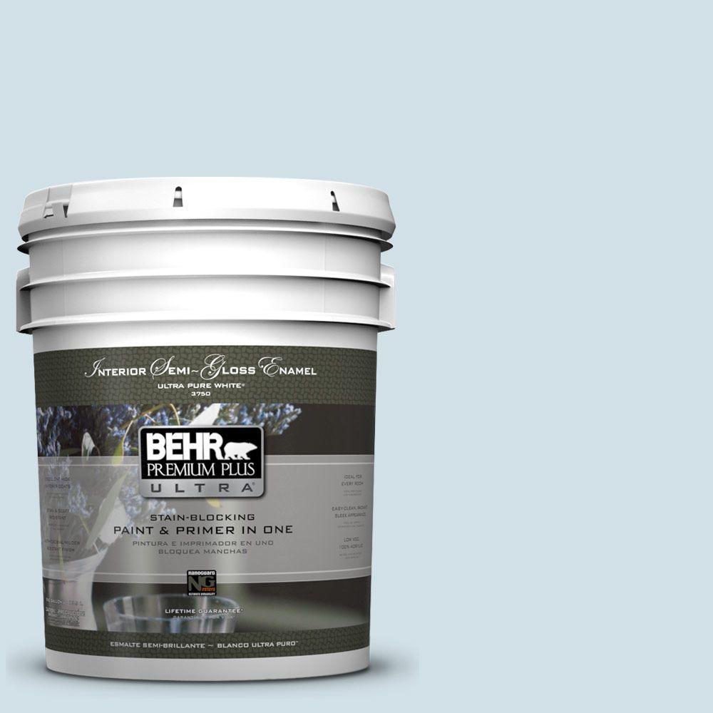 BEHR Premium Plus Ultra 5-gal. #530E-2 Cool Sky Semi-Gloss Enamel Interior Paint