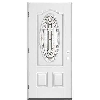 36 in. x 80 in. New Haven 3/4 Oval Right-Hand Outswing Primed White Smooth Fiberglass Prehung Front Exterior Door