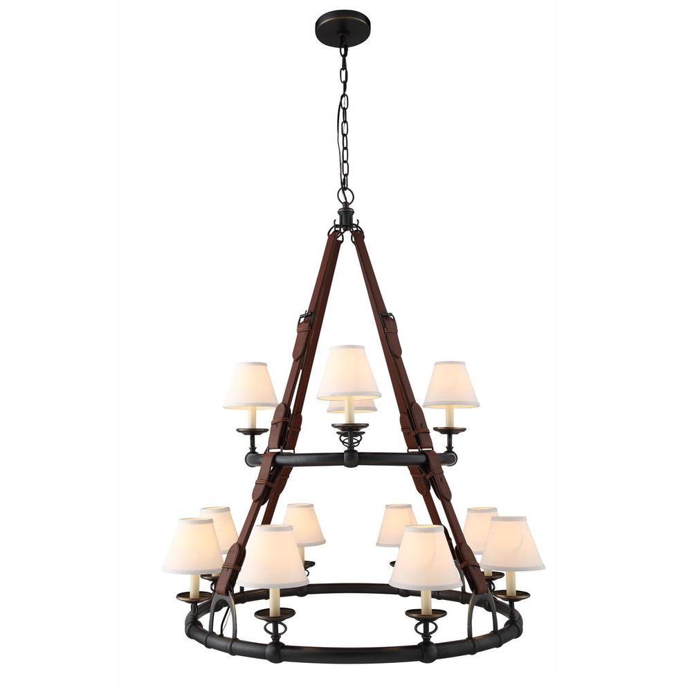 Cascade 12-Light Bronze Pendant Lamp