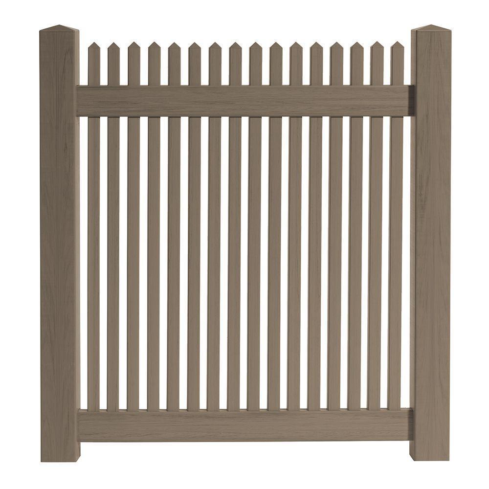 brown vinyl picket fence. H Cedar Grove Chestnut Brown Vinyl Picket Fence E