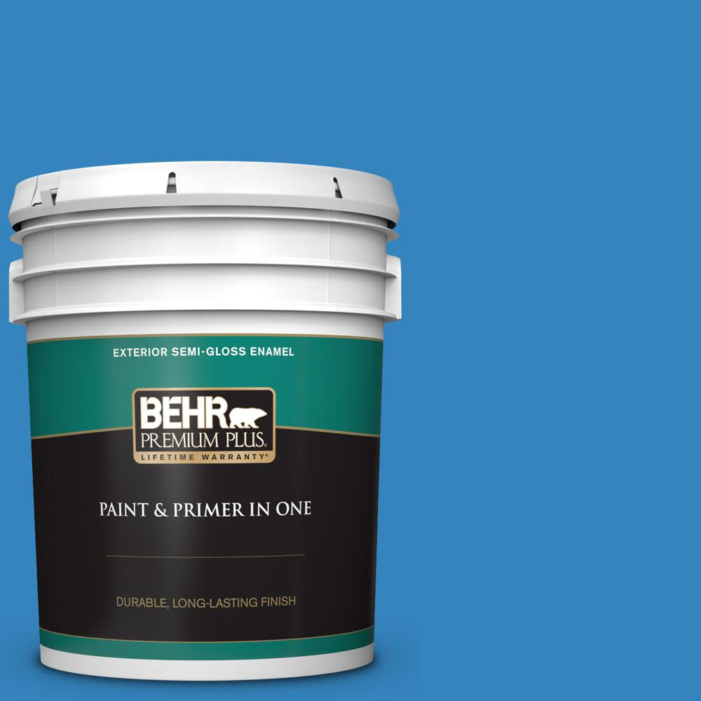 Behr Premium Plus 5 Gal 560b 6 Warm Spring Semi Gloss Enamel Exterior Paint And Primer In One 534005 The Home Depot