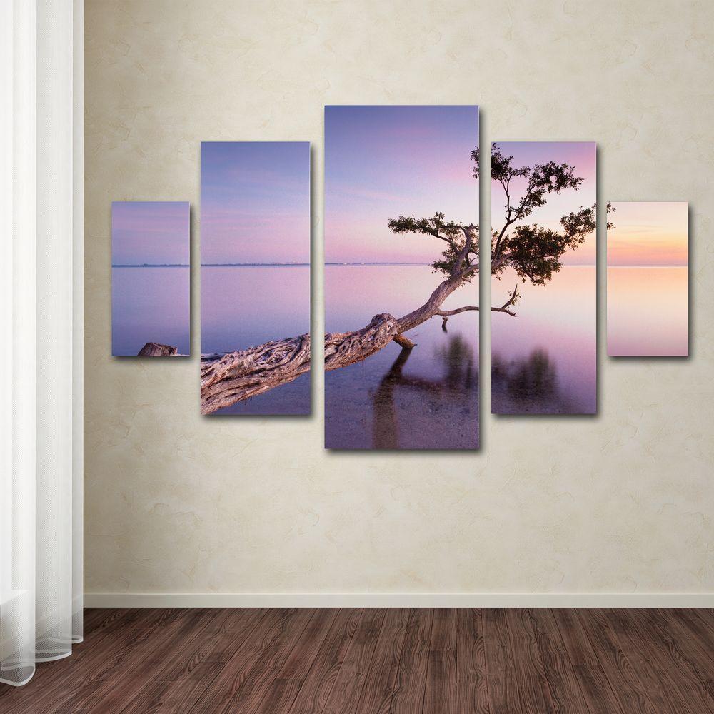 Trademark Fine Art Water Tree Xv By Moises Levy 5 Panel Wall Set