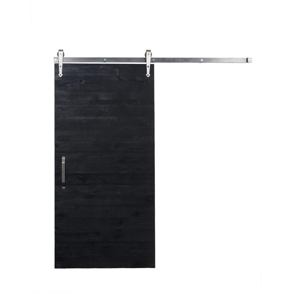 42 in. x 84 in. Rustica Reclaimed Matte Black Wood Barn Door with Arrow Sliding Door Hardware Kit