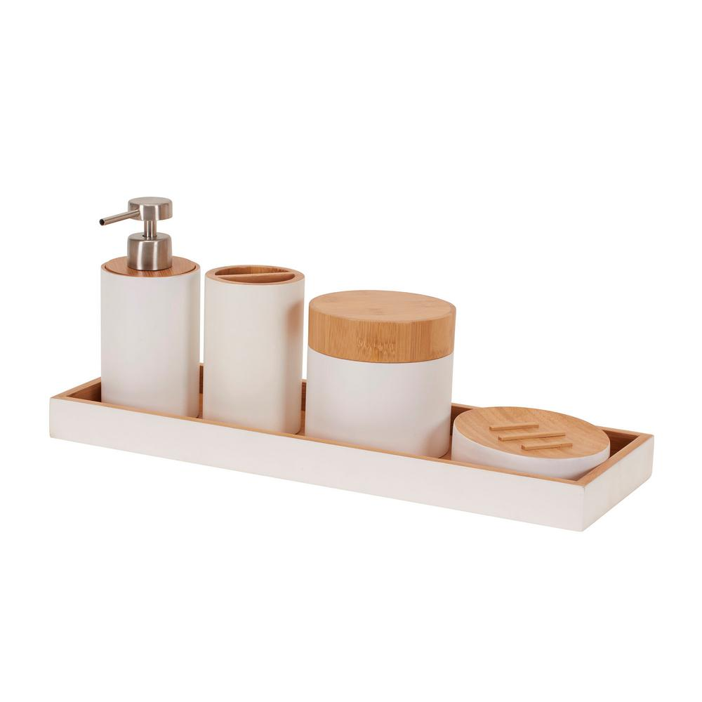 Household Essentials Elements 5-Piece Bath Vanity Accessory Set-2430 ...