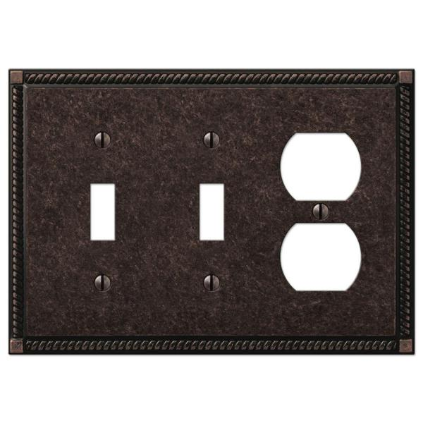 Georgian 3 Gang 2-Toggle and 1-Duplex Metal Wall Plate - Tumbled Aged Bronze