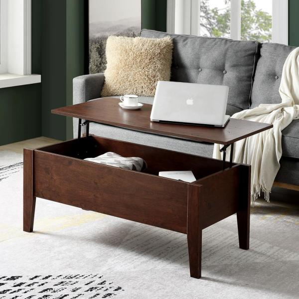 Boyel Living 39 In L Cherry Modern Lift Top Coffee Table With Storage Sofa Table For Living Room Bh 727cr The Home Depot